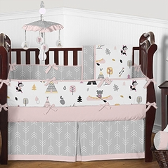 Pink Outdoor Adventure Nature Baby Girl Bedding - 9pc Crib Set by Sweet Jojo Designs