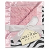 Pink & Zebra Print  Minky Dot Chenille and Satin Baby Blanket by Sweet Jojo Designs