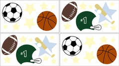 Playball Sports Baby and Kids Wall Decal Stickers - Set of 4 Sheets