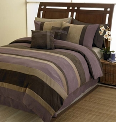 Plum, Chocolate and Camel Jacaranda Striped MicroSuede 6-pc Luxury Duvet Cover Bedding Set