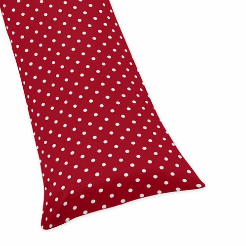 Polka Dot Full Length Double Zippered Body Pillow Case Cover for Sweet Jojo Designs Ladybug Sets - Click to enlarge