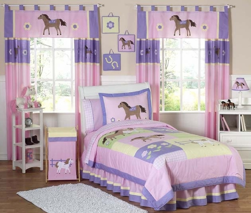 Pretty Pony Horse Children's Bedding - 4 pc Twin Set - Click to enlarge
