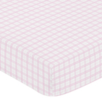 Pretty Pony Fitted Crib Sheet for Baby and Toddler Bedding Sets by Sweet Jojo Designs - Pink Plaid Print