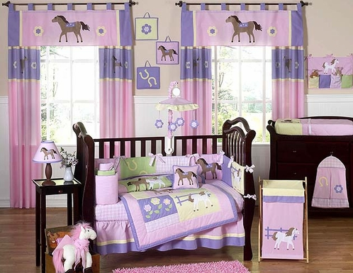Pretty Pony Horse Baby Bedding - 9 pc Crib Set - Click to enlarge