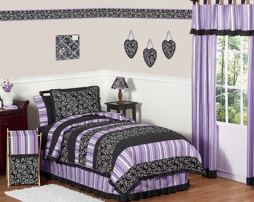 Purple and Black Kaylee Childrens, Kids, Teen Bedding - 3pc Full / Queen Set by Sweet Jojo Designs - Click to enlarge