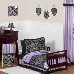 Purple and Black Kaylee Girls Toddler Bedding - 5 pc Set by Sweet Jojo Designs