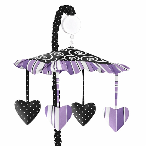 Purple And Black Kaylee Musical Baby Crib Mobile By Sweet