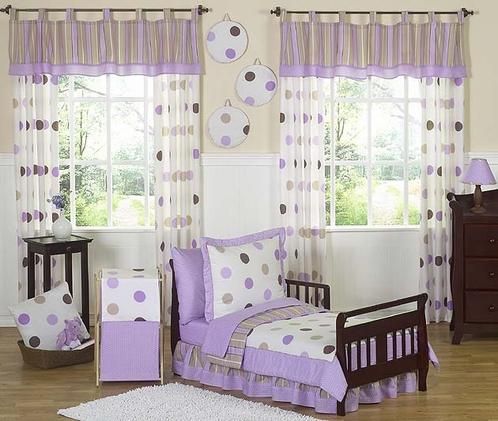 purple and brown modern polka dots toddler bedding 5pc