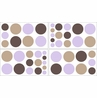 Purple and Brown Mod Dots Baby and Childrens Polka Dot Wall Decal Stickers - Set of 4 Sheets