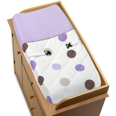 Purple and Brown Mod Dots Changing Pad Cover by Sweet Joj...