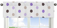 Purple and Brown Mod Dots Collection Window Valance by Sweet Jojo Designs
