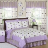 Purple and Brown Modern Dots Teen Bedding - 3 pc Full / Queen Set