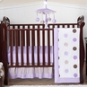Purple and Brown Modern Polka Dot Baby Bedding - 4pc Crib Set
