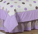 Purple and Brown Modern Polka Dots Queen Kids Childrens Bed Skirt by Sweet Jojo Designs