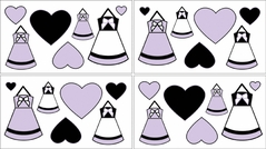 Purple, Black and White Princess Baby and Kids Wall Decal Stickers - Set of 4 Sheets