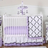 Purple, Black and White Princess Baby Bedding - 11pc Crib Set