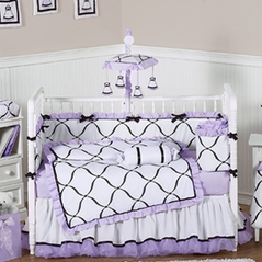 Purple, Black and White Princess Baby Bedding - 9 pc Crib Set