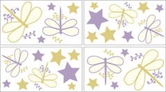Purple Dragonfly Dreams Baby and Kids Wall Decal Stickers - Set of 4 Sheets