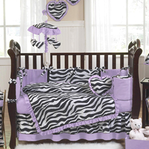 JoJo Designs Purple Funky Zebra Baby Bedding - 9 pc Crib Set