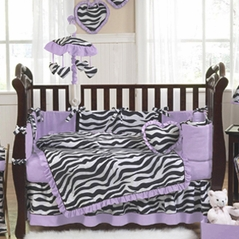 Purple Funky Zebra Baby Bedding - 9 pc Crib Set