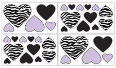 Purple Funky Zebra Baby, Kids and Teens Wall Decal Stickers - Set of 4 Sheets