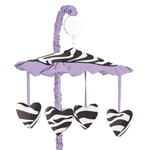 Purple Funky Zebra Musical Baby Girls Crib Mobile by Sweet Jojo Designs