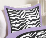 Purple Funky Zebra Pillow Sham