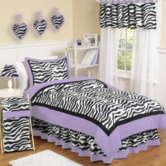 Purple Funky Zebra Childrens Bedding - 4 pc Twin Set