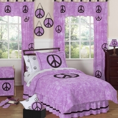Purple Groovy Peace Sign Tie Dye Children's Bedding - 3 pc Full / Queen Set