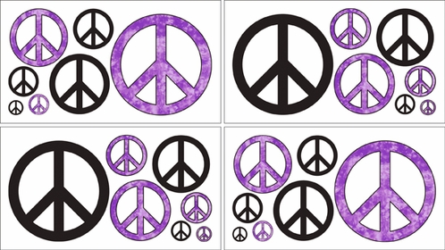 Purple Groovy Peace Sign Tie Dye Kids and Teens Wall Decal Stickers - Set of 4 Sheets - Click to enlarge