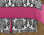 Queen Bed Skirt for Hot Pink, Black and White Isabella Bedding Sets by Sweet Jojo Designs