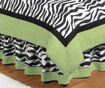 Queen Bed Skirt for Lime Funky Zebra Bedding Sets by Sweet Jojo Designs