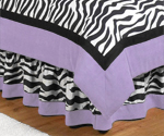 Queen Bed Skirt for Purple Funky Zebra Bedding Sets by Sweet Jojo Designs