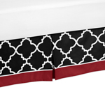 Queen Bed Skirt for Red and Black Trellis Bedding Sets