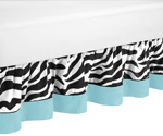 Queen Bed Skirt for Turquoise Funky Zebra Bedding Sets by Sweet Jojo Designs