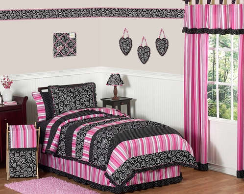 Pink and Black Madison Girls Children & Teen Bedding - 3pc Full / Queen Set - Click to enlarge
