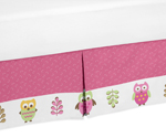 Queen Kids Childrens Bed Skirt for Pink Happy Owl Bedding Sets by Sweet Jojo Designs