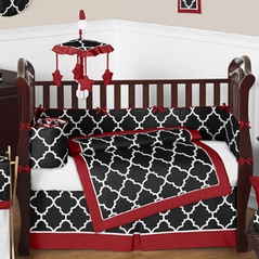 Red and Black Trellis Baby Bedding - 9 pc Crib Set by Sweet Jojo Designs