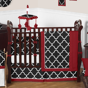 Red and Black Trellis Baby Bedding - 9pc Crib Set by Swee...