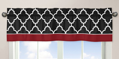 JoJo Designs Trellis Window Valance In Red/black Multi