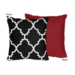 Red and Black Trellis Decorative Accent Throw Pillow by Sweet Jojo Designs