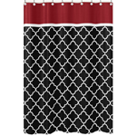 JoJo Designs Red and Black Trellis Collection Shower Curtain