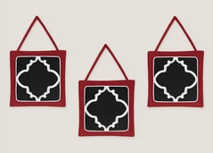 Red and Black Trellis Wall Hanging Accessories by Sweet Jojo Designs