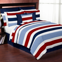 Red and Blue Stripe - 4 pc Twin Set by Sweet Jojo Designs