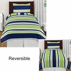 Navy and Lime Stripe - 4 pc Twin Set by Sweet Jojo Designs