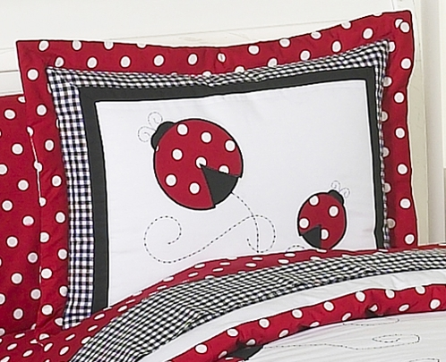 red and white ladybug polka dot pillow sham click to enlarge