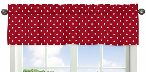 Polka Dot Window Valance for Red and White Ladybug Collection by Sweet Jojo Designs - Click to enlarge