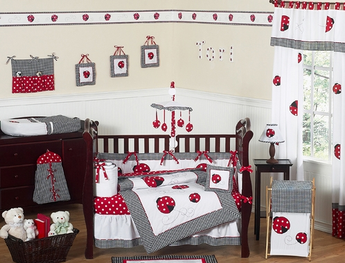 Red & White Polka Dot Ladybug Baby Bedding - 9 pc Crib Set - Click to enlarge
