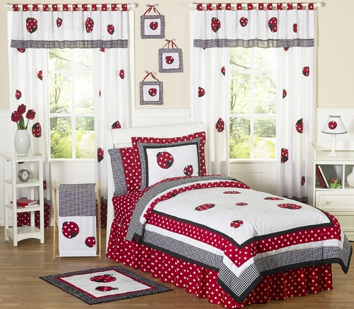 polka dot ladybug childrens bedding 3 pc full queen set click to