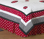 Red and White Ladybug Polka Dot Queen Bed Skirt by Sweet Jojo Designs